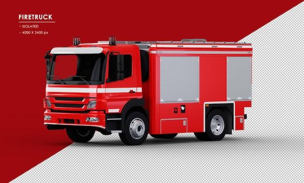Na białym tle czerwony wóz strażacki z lewego widoku z przodu