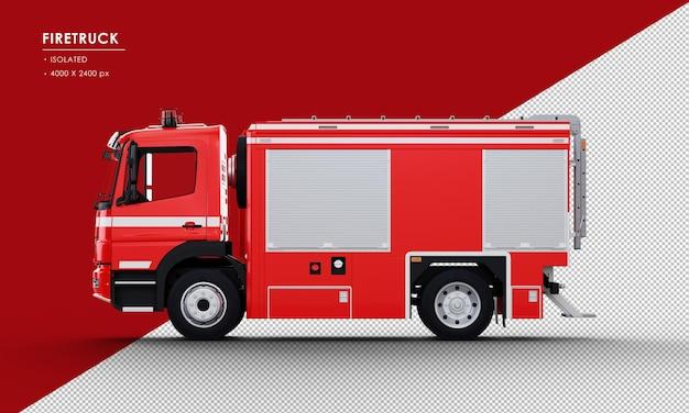 Na białym tle czerwony wóz strażacki z lewej strony widoku