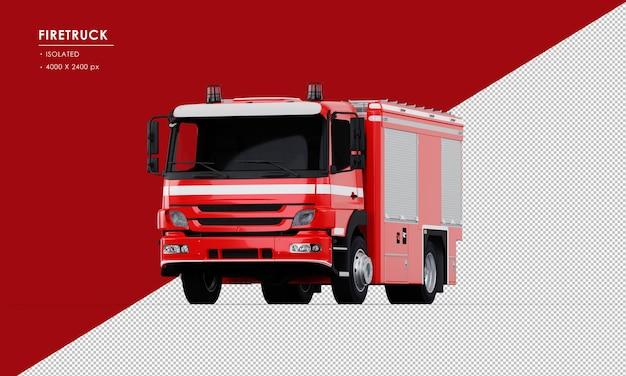 Na białym tle czerwony wóz strażacki z przodu kąt widzenia
