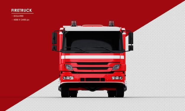 Na białym tle czerwony wóz strażacki z widoku z przodu