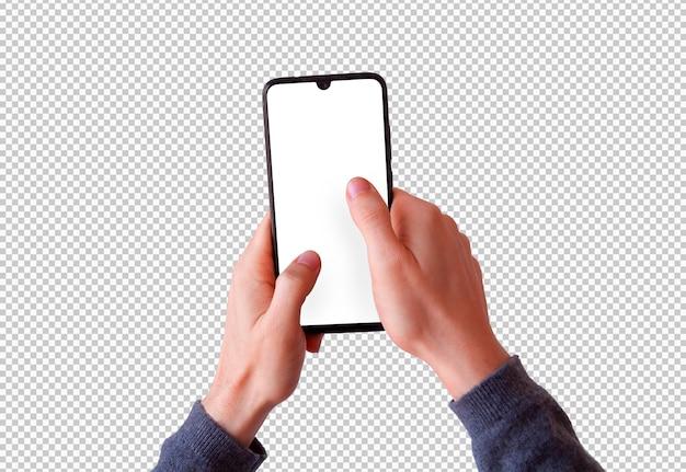 Na białym tle dwie ręce trzymające smartfon