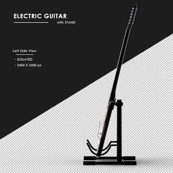 Na białym tle gitara elektryczna ze stojakiem od lewej strony widoku