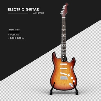 Na białym tle gitara elektryczna ze stojakiem od przodu widok