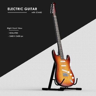Na białym tle gitara elektryczna ze stojakiem z prawego przedniego widoku