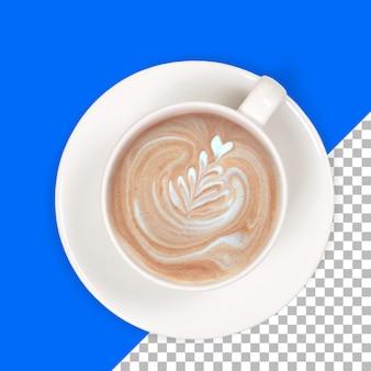 Na białym tle gorąca kawa latte na białej filiżance