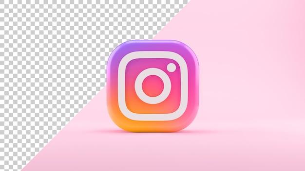 Na białym tle ikona instagram na różowym tle w renderowaniu 3d