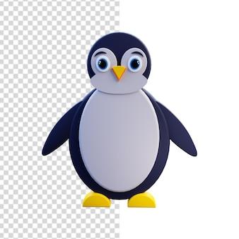 Na białym tle ilustracja 3d ładny pingwin. 3d ikona pingwina.