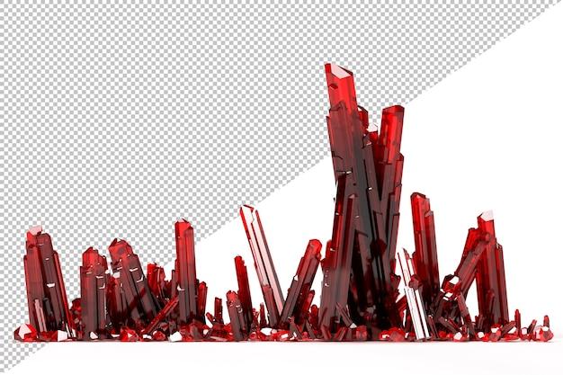 Na białym tle klaster czerwonych kryształów