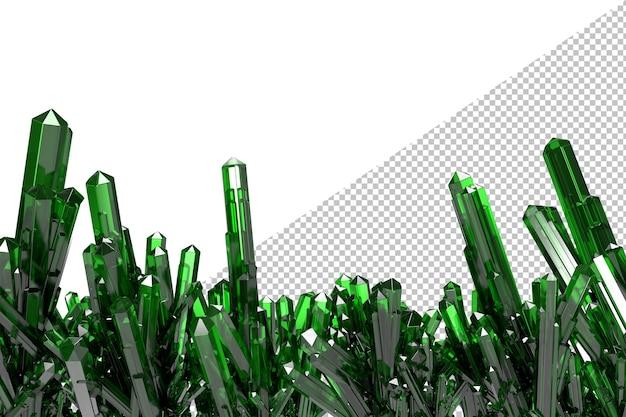 Na białym tle klaster zielonych kryształów