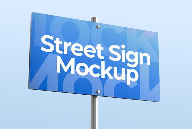 Na białym tle makieta 3d znaku ulicznego do reklamy lub brandingu