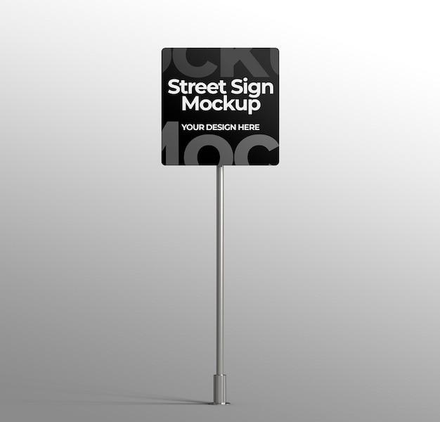 Na białym tle makieta znaku ulicznego 3d do reklamy lub brandingu