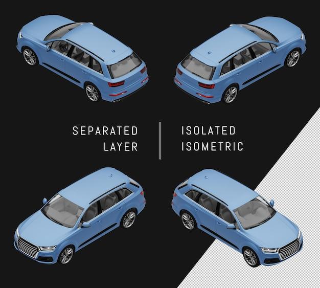 Na białym tle niebieski sportowy elegancki miejski suv izometryczny zestaw samochodowy
