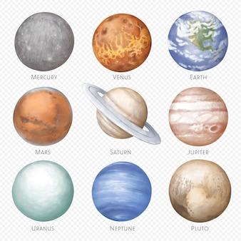 Na białym tle planety rysowane ręcznie na białym tle
