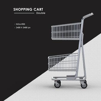 Na białym tle podwójny metalowy koszyk na zakupy po lewej stronie