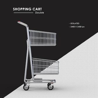 Na białym tle podwójny metalowy koszyk na zakupy po prawej stronie
