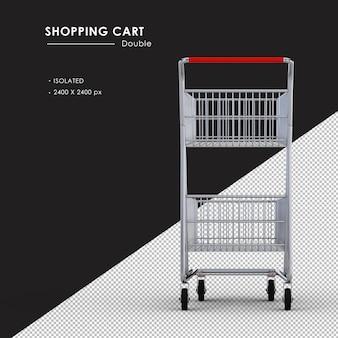 Na białym tle podwójny metalowy koszyk na zakupy widok z tyłu