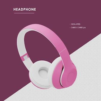 Na białym tle różowe słuchawki bezprzewodowe z lewym górnym kątem widzenia