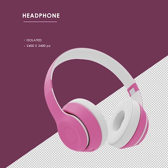 Na białym tle różowe słuchawki bezprzewodowe z prawego przedniego kąta widzenia