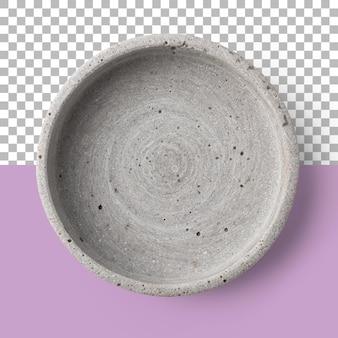Na białym tle zbliżenie betonowej miski pustej