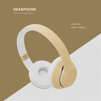 Na białym tle złote słuchawki bezprzewodowe z lewym górnym kątem widzenia