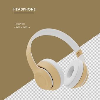 Na białym tle złote słuchawki bezprzewodowe z prawego przedniego kąta widzenia