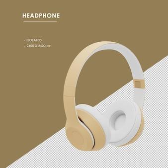 Na białym tle złote słuchawki bezprzewodowe z prawego przedniego widoku