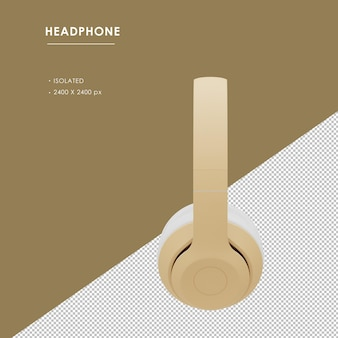 Na białym tle złote słuchawki bezprzewodowe z prawego widoku