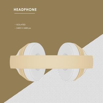 Na białym tle złote słuchawki bezprzewodowe z widoku z góry