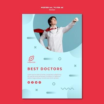 Najlepsi lekarze noszą szablon plakatu peleryny