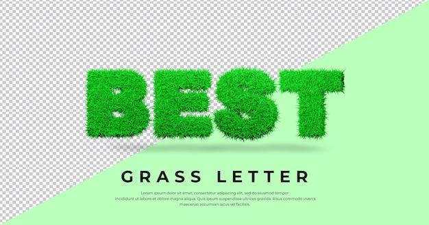 Najlepszy efekt tekstowy list z trawą 3d na białym tle