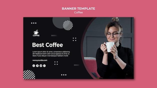 Najlepszy szablon transparent koncepcja kawy