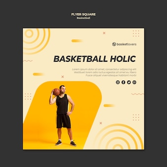 Najlepszy szablon ulotki kwadrat koszykówki