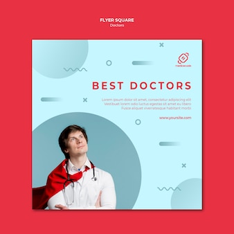 Najlepszy szablon ulotki kwadratowych lekarzy