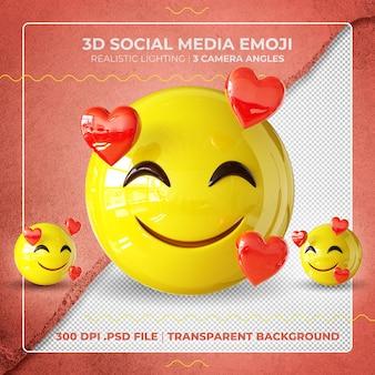 Namiętny emoji 3d na białym tle