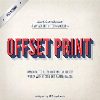 Napis druku offsetowego w stylu vintage