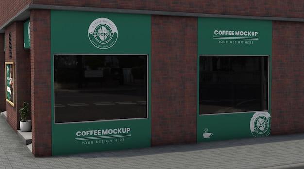 Narożna makieta biznesowa dla kawiarni