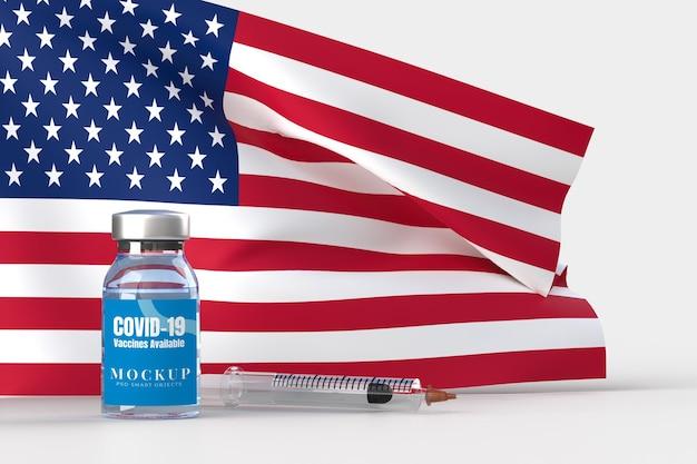 Narzędzia medyczne i szczepionki przeciw covid-19. szablon makiety transparentu dla szpitala, kliniki, medycznej koncepcji biznesowej. renderowanie 3d