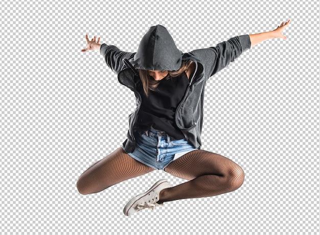 Nastolatek hip-hop tancerz skoki