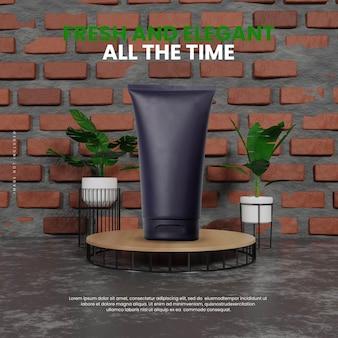 Naturalne Przemysłowe Wnętrze Podium Premium Psd