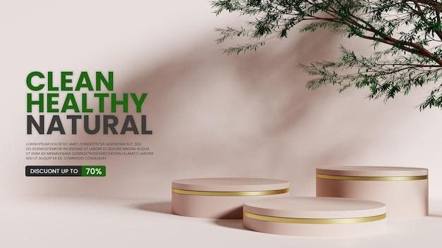 Naturalny minimalistyczny wyświetlacz produktu na podium z realistycznym drzewem