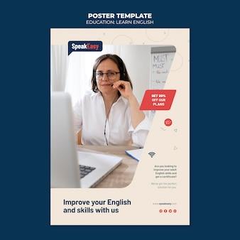 Naucz się angielskiego szablonu plakatu