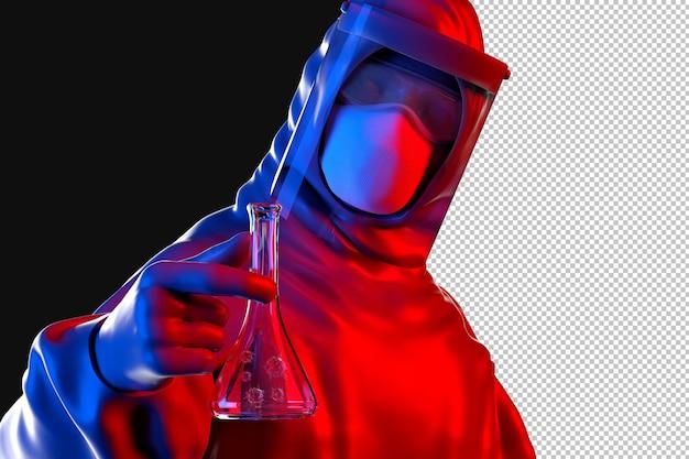 Naukowiec w masce i kombinezonie ochronnym, trzymając kolbę z renderowaniem cząsteczek wirusa