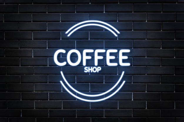 Neon emboss logo makieta psd do kawiarni na tle ciemnego ceglanego muru