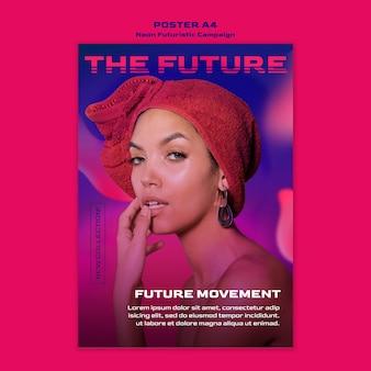 Neon futurystyczny plakat szablon