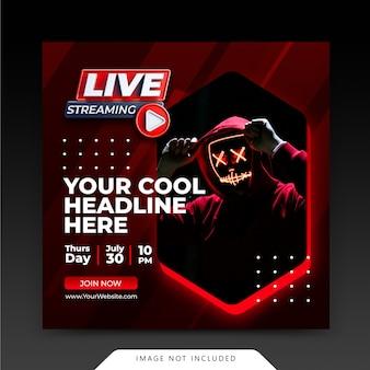 Neon retro concept live streaming instagram post szablon postu w mediach społecznościowych
