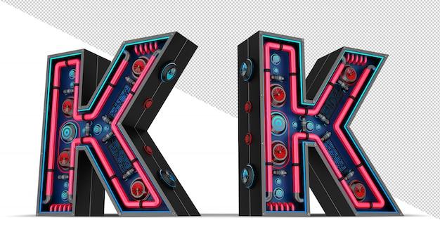 Neon w kształcie litery k.