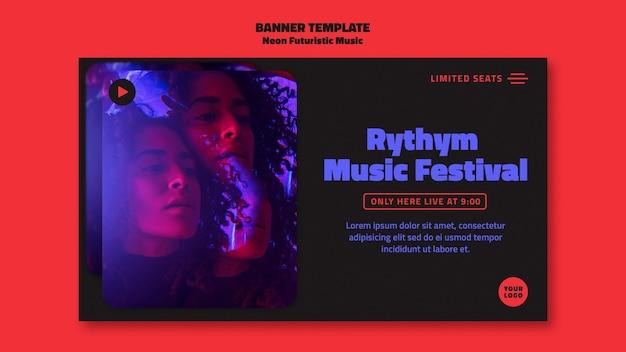 Neonowa futurystyczna muzyka szablon banera reklamowego
