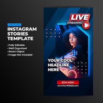Neonowa koncepcja retro na żywo streaming instagram post szablon historii mediów społecznościowych