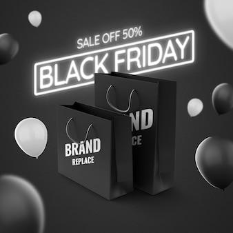 Neonowa makieta reklamowa na czarny piątek