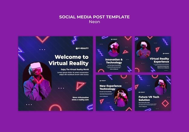 Neonowe okulary wirtualnej rzeczywistości post w mediach społecznościowych